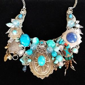 Vintage Jewelry Collage Statement Necklace NWT